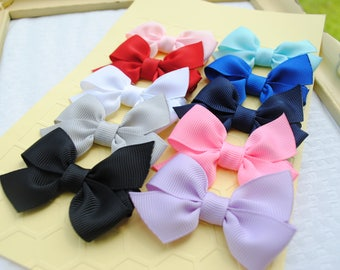 Mini Baby Bows, Newborn Itty Bitty Hair Clips, Set of 10 Little Loopy Infant Hairbows, New Baby Variety Pack, Custom M2M Boutique Baby Bows