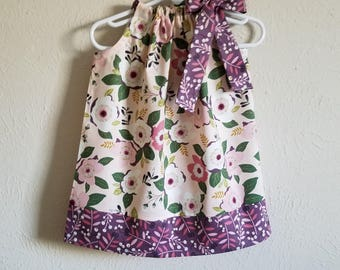 Pillowcase Dress with Flowers Girls Dresses Poppy Dress Floral Dresses baby dresses toddler dresses with Poppies Fall Dresses Pink and Plum