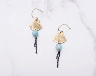 Gold brass shell earrings, aqua blue amazonite gemstones, seaside boho earrings, mermaid jewelry