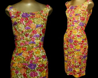 Vintage 50s Cocktail Wiggle Dress, 1950s Hand Sequined Aurora Boreas AB Jewel Tone Tropical Floral Print Dress, Size S Small