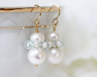 Aquamarine and Pearl Earrings Aqua Wedding Earrings Aqua And White Dangle Earrings