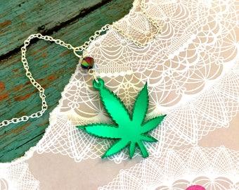 GREENS - Marijuana Leaf Charm Necklace - Laser Cut Acrylic - Green Mirror