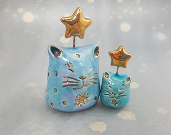Ceramic Cat Family with Gold Luster