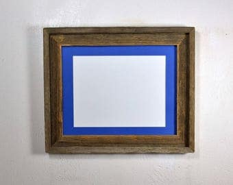 Picture frame 8.5x11 blue mat without mat 11x14 from reclaimed wood complete with glass
