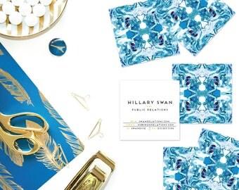 Blue + Burgundy Art Marble Tiled Calling Cards | Business Cards | Blogger Cards | Set (50)