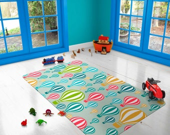 Decorative Rug, modern rug, Hot Air balloon rug, carpet, children rug, kids rug, nursery decor, nursery rug, kids gifts