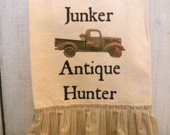 Rustic French Farmhouse  Kitchen dish towel Old truck Junker Shabby Prairie cottonTattered ruffles ECS RDT FVGteam