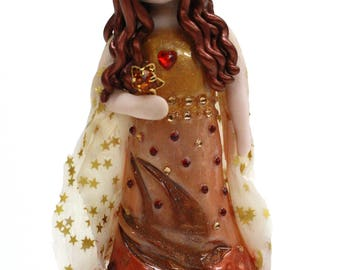 Autumn Girl Sculpture - polymer clay fine art piece - ready to ship