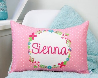 Floral Frame Girls Personalised Cushion