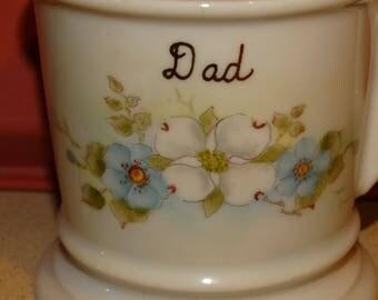 Porcelain Coffee Mug, Hand Painted, Father's Day Mug, Barbers Mug, Floral Mug, Blue Flowers, Ceramic Mug