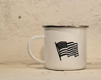 American Flag Mug. Patriotic Mug. Camp Mug, Coffee Mug. Cast Iron Mug. I Stand. Camping Mug. Custom Mug. Gift for Military. Gift for Hero