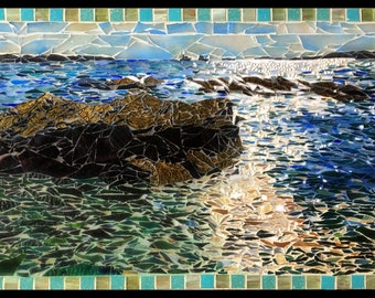 Maine Cove Ocean Rocks Stained Glass Mosaic