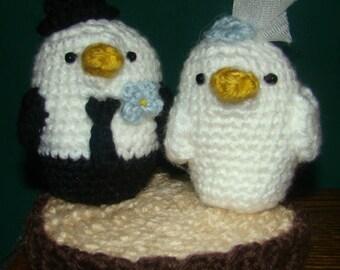Crocheted Lovebirds Wedding Cake Topper Shower