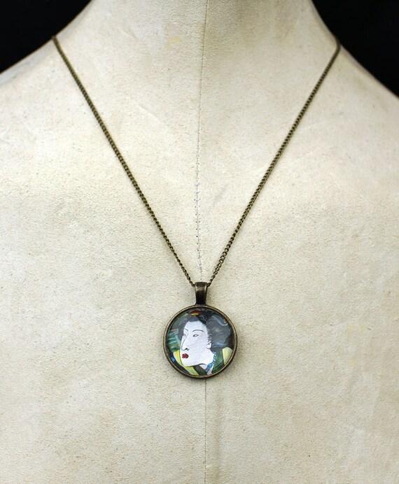 Custom Geisha necklace pendant tattoo samurai asian oni tattoos asian geisha jewelry