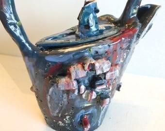 ceramic teapot handmade blue red unique contemporary teapot funky teapot serving tea teapot collectibles