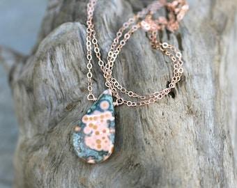 Ocean Jasper Teardrop Pendant, 14KT Rose Gold Filled Necklace, Tangerine Peach Ocean Jasper Gemstone Necklace, Rose Gold Necklace,Minimalist