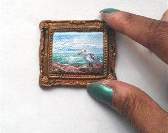 1:6 Scale Little Seagull by the Sea Oil Painting, Framed almost READY to SHIP