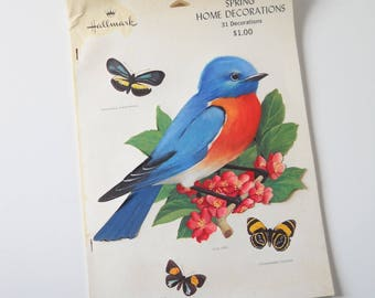 Vintage Hallmark Spring Home Decorations Book • Vintage Birds and Butterfly Paper Cut Outs