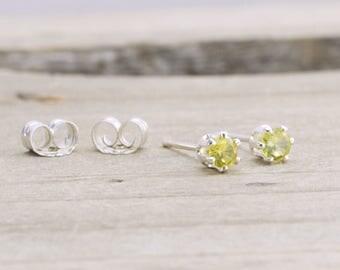 Citrine Tiny Stud Earrings November Birthstone Dainty Earrings Yellow Citrine Stud Earrings November Birthday Gift Birthstone Jewelry