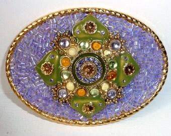 """Womans Belt Buckle -  Lavender Green - Lilac Purple - Belt Buckle - Colorful Buckle - Gold Oval Belt Buckle - Women's Gift Ideas - 3.75"""" w"""