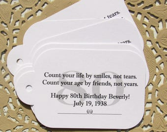 Adult Birthday Favor - Adult Party Favors - Adult Favor Tags - Favor Tags - 80th Birthday Favor - Gift Tags - Birthday Favor Tags