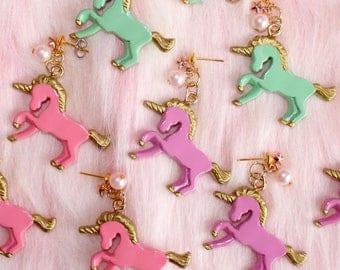 Unicorn Earrings, Pastel Unicorn Earrings, Rainbow Unicorn Jewelry, Kawaii Jewelry, Pastel Goth Jewelry