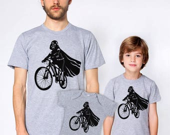 Father son matching shirts set, Fathers day gift for dad, Darth Vader is riding it, daddy and sons, baby and daddy,star wars family t-shirts