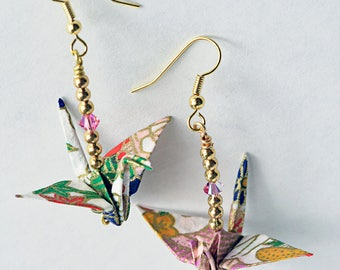 Boho earrings for daughter|  Xmas gift ideas for mom| Pink jewelry for wife| Pink Xmas earrings| Cute origami jewelry gifts|