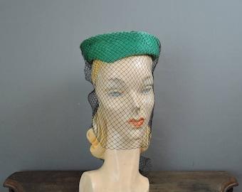 Vintage Topper Hat With Face Veil, Tilt 1950s Green Plush Felt with Black Veil, Custom Millinery Bullock's Wilshire
