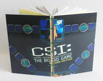 CSI Crime Scene Investigation Journal Recycled Game Board Book Upcycled Board Game by PrairiePeasant