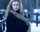 Ladies Fall Black Wrap Shawl Cape Faux Fur