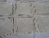 VINTAGE White Crochet Square Medallion Needlework Lace Doily   X
