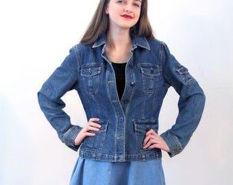 90s Denim Jacket S M, Jones New York Jacket, 90s Jean Jacket, Vintage Blue Jean Jacket, Stretch Denim Jacket, Jones New York Sport Jacket