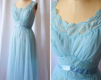 Ciel Chiffon | Vintage 1950s Nightgown Sky Blue Nylon Chiffon and Lace Vintage 50s Vanity Fair Something Blue Satin Sash Floaty Nightwear M