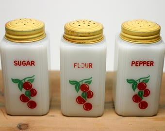 Vintage Tipp City Milk Glass Red Cherries Flour, Sugar & Pepper Range Shaker Yellow Caps