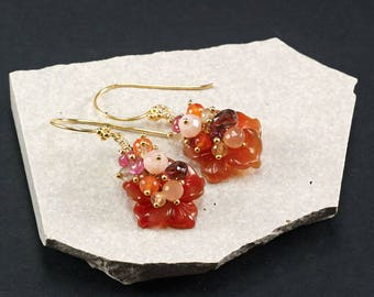 Red Agate earrings, Garnet Pink Opal Carnelian Peach Moonstone PInk Opal Pink Tourmaline Lemon Quartz cluster earrings, Gold Vermeil hooks