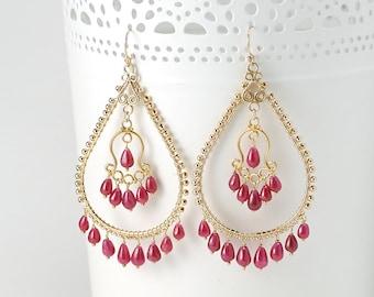 Ruby Chandelier earrings - Statement Red Ruby drop earrings 14k Gold filled/ genuine Ruby Earrings / July Birthstone jewelry Gift