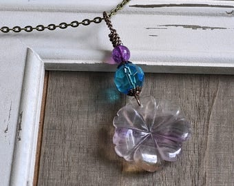 Gemstone Flower Pendant Natural Purple Fluorite Carved Flower Necklace Periwinkle Blue Crystal Bead & Purple Glass Hand Wrapped