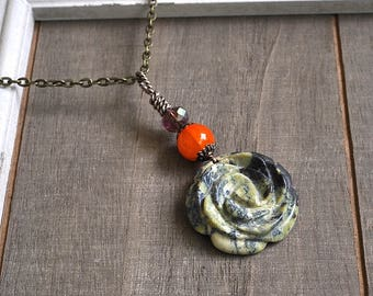 Gemstone Flower Pendant Natural Russian Serpentine Carved Flower Necklace Carnelian Gemstone Bead Hand Wrapped