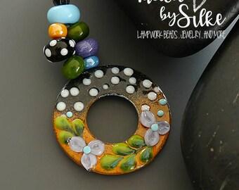 Handmade torch fired enameled components |  Donut  | pendant  | enameled copper   |  made by Silke Buechler