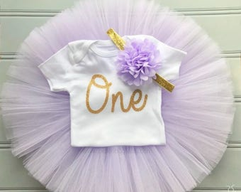 Lavender and Gold Cake Smash Outfit Girl, First Birthday Outfit Girl, 1st Birthday Outfit Girl, 1st Birthday Tutu Skirt, Tulle Skirt SEWN