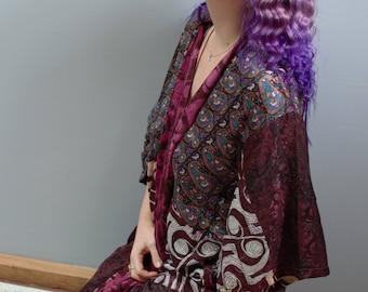 Silk Kimono Robe - Upcycled Sari Silk - One of a kind - Fits small - xl