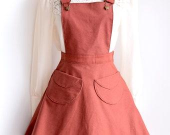 Apron Dress, cotton apron dress, work apron, Prairie dress, apron skirt, cotton apron dress, Pinafore, pinafore jumper,  spring jumper
