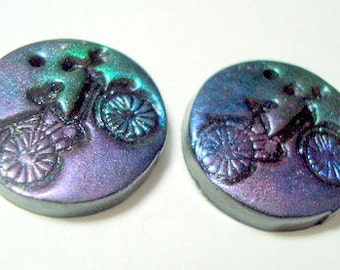 Little Magic Bicycles Polymer Clay Focal Beads