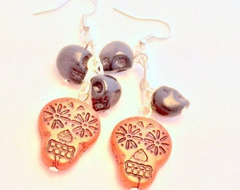 Sugar Skull Earrings Day of the Dead Black and Red Czech Glass Bead Earrings