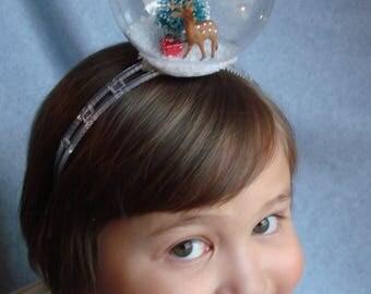 Snowglobe Headband Deer Headband Hair Accessory Snow Holiday Hair Band Fascinator Christmas Tree Snow Winter Presents Tree Hair Accessory