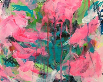 Pink Waters Original Art Acrylic Painting Abstract Style, Painted on Watercolour Paper A3 - 38.2 x 27.7cm