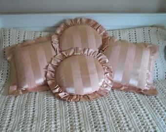 Set 4 Vintage Mid-Century 50's Blush Pink Moire Faille Boudior, Throw Pillows~Excellent!