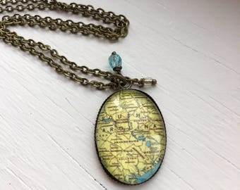 Antique Brass Necklace with South Carolina Map Resin Pendant