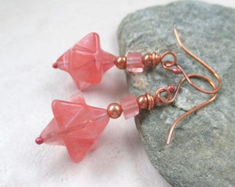 Pink Earrings Gemstone Stars, Casual Boho Jewelry, Summer Earrings, Melon Color Cherry Quartz Stone, Copper, Abstract Cosmic Starbursts E109
